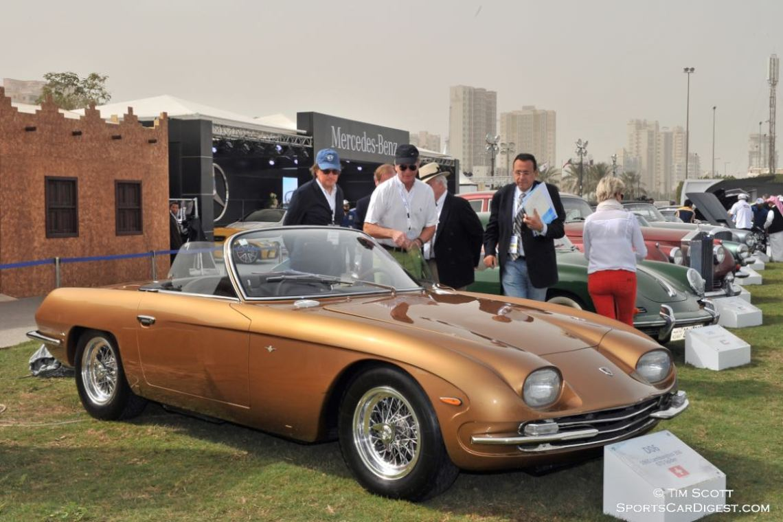 Judging the eventual Best of Show 1965 Lamborghini 350 GTS Spider