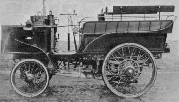 The de Dion steam-powered vehicle made the best time at the 1894 Paris to Rouen reliability run. But it was disqualified.