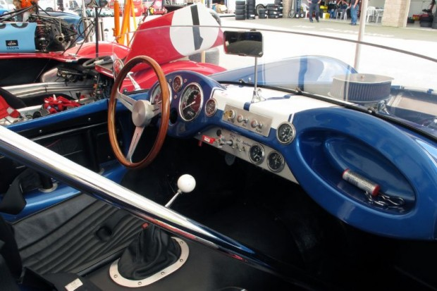 Cockpit and dash of John Goodman's 1958 Corvette-powered Devin SS.  William Edgar Photo