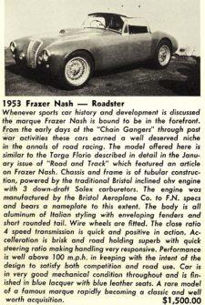 Frazer Nash Targa Florio For Sale