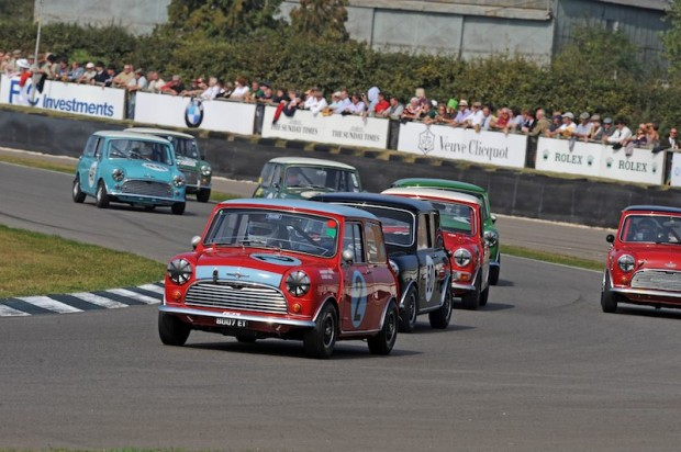 Bobby Rahal fights off the field with his Morris Mini Cooper S