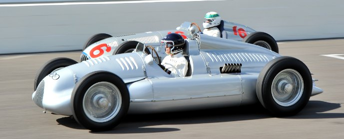 Auto Union Type D Dual Compressor and Mercedes-Benz W165 at Goodwood Revival 2012