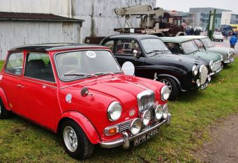 Mini Coopers at the Brooklands Museum New Year's Day Classic Gathering 2015