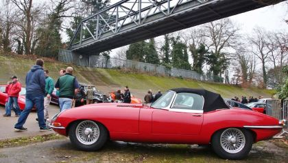 Series 1 Jaguar E-Type OTS at the Brooklands Museum New Year's Day Classic Gathering 2015