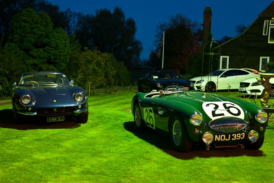 1967 Ferrari 275 GTB/4 and 1953 Austin-Healey 100 Le Mans that was involved in the 1955 Le Mans disaster