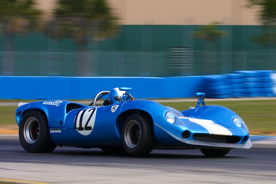 Brian Johnson, lead singer of the rock band AC/DC, wheels his 1965 Lola T70 Spyder at Sebring (photo: David Ferguson)