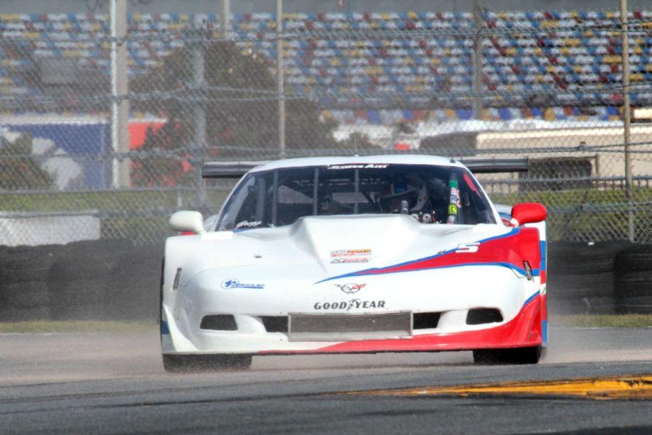 Simon Gregg in his T/A Corvette going through oil-dry.
