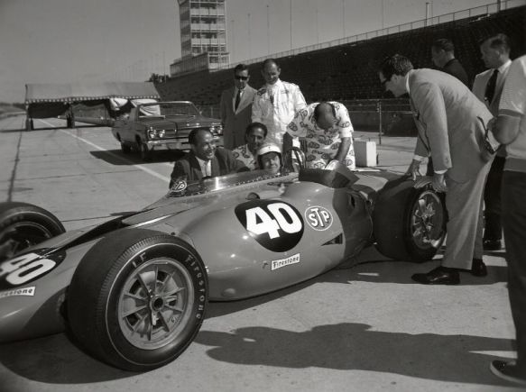 Johnny Carson sits in the STP Turbine in 1967 at the Indianapolis Motor Speedway