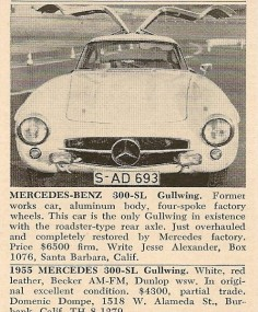 Mercedes-Benz 300SL Gullwing for sale