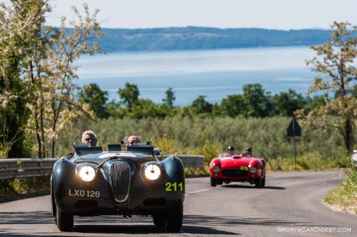 1951 Jaguar XK 120 Sports Ecurie Ecosse piloted by Jay Leno and Ian Callum and 1953 Ferrari 375 MM Spider Pinin Farina