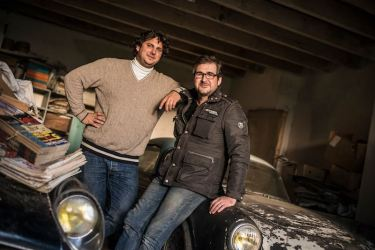 Matthieu Lamoure and Pierre Novikoff in front of their discovery