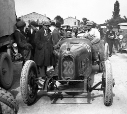 "Enzo Ferrari after winning the 1923 Circuito del Savio in an RLTF – the day he was presented with the ""Prancing Horse."""