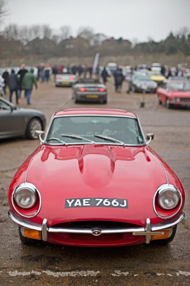 Jaguar E-Type at the Brooklands Museum New Year's Day Classic Gathering 2015 (photo: Jason Dodd)