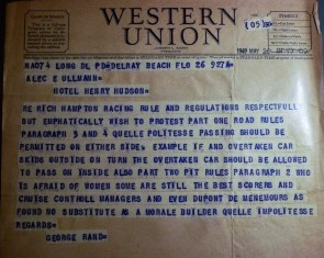 1949 telegram from George Rand