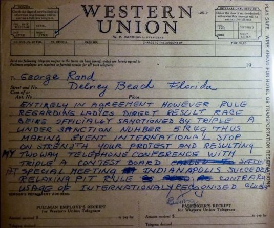 Telegram from George Rand