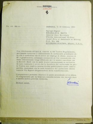 Letter from Enzo Ferrari found in the Alec Ulmann Collection