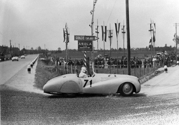 BMW 328 Mille Miglia 'Trouser Crease' or 'Bugelfalte' Roadster during the 1st Italian Mille Miglia Grand Prix in Brescia