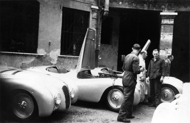 BMW 328 Mille Miglia racing cars in the team paddock in Brescia