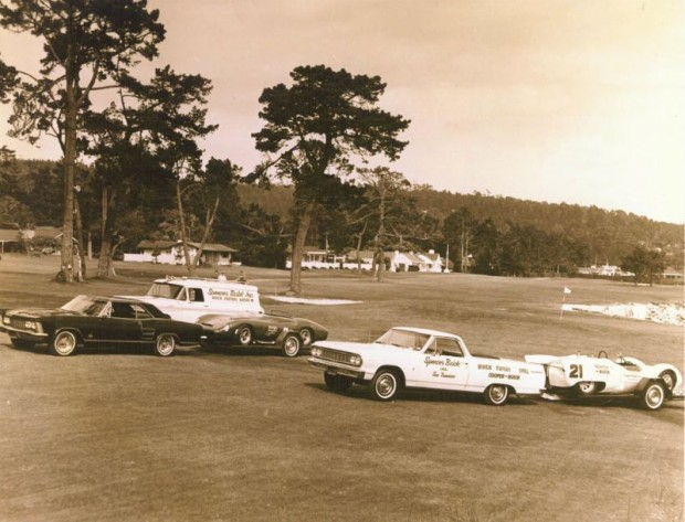 "The Spencer ""L'Equipe"" circa spring 1964: Spencer's Le Mans winning 1961 Ferrari 250 Testa Rossa and ex-Cunningham Cooper-Buick pose with their respective tow and support vehicles on the 18th fairway at Pebble Beach."