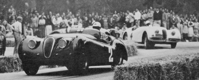 Phil Hill in his Jaguar XK120 at Pebble Beach Road Races