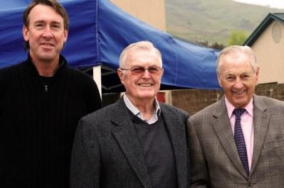 Joe Huffaker Jr and Sr with Kjell Qvale (photo: Dennis Gray)