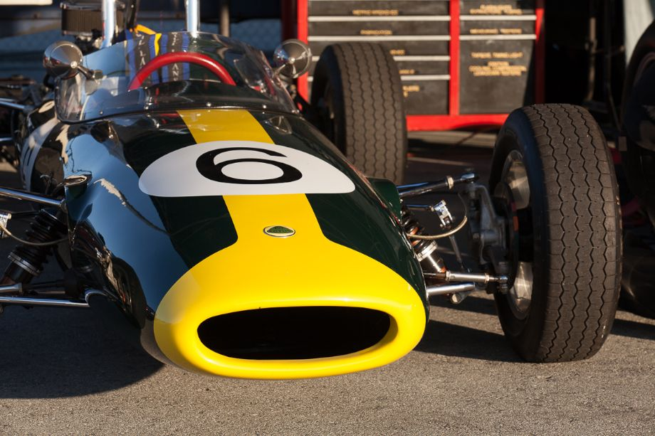 1962 Lotus Type 22 in its classic yellow over British Racing Green. HMSA Spring Club Races 2013 (Taken at 1/125 sec.@ f/11.0 - ISO 200) © 2013 Victor Varela