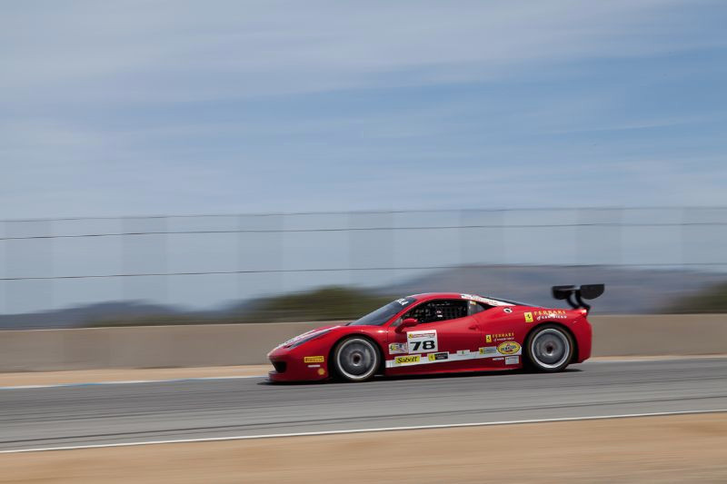 Al Hegyi races his #78 Ferrari 458 EVO towards the Corkscrew corners