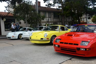 Porsches from the Ingram Collection lined up in Carmel
