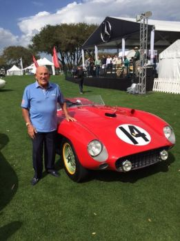 Sir Stirling Moss with the 1956 Ferrari 290 MM (photo: Ferrari SpA)