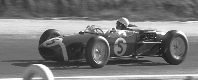 Stirling Moss at the United States Grand Prix West at Riverside