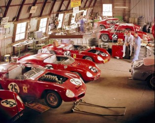 Ferrari and NART garage at Sebring, 1962 (photo: