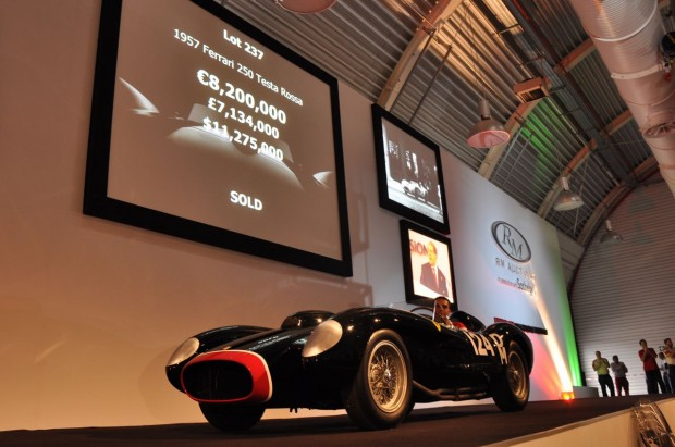 1957 Ferrari 250 Testa Rossa – Sold for $12,402,500 versus unavailable estimate. </strong>Chassis # 0714TR was extensively raced in period and was offered at auction for the first time. Painted in its period race-correct black livery and red nose.   Sale established a new world record price for the most expensive car ever to be sold at auction. Despite the record price, it was a fairly orderly sale as a phone bidder and an Italian bidder in the room slowly but surely made their way to the end result with the phone bidder taking the prize. While the price paid is significant (and then some), so is the Testa Rossa.