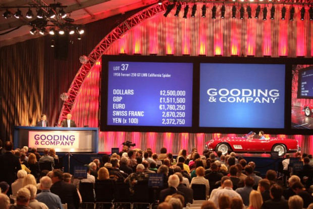 <strong>1958 Ferrari 250 GT LWB California Spyder – Sold for $2,750,000 versus pre-sale estimate of $2,700,000 - $3,600,000.</strong> Ferrari Classiche Certified; 2008 Palm Beach Cavallino Classic Platinum and Judges Cup Award Winner; 2007 Pebble Beach Concours Award Winner; original covered headlight with factory hardtop.