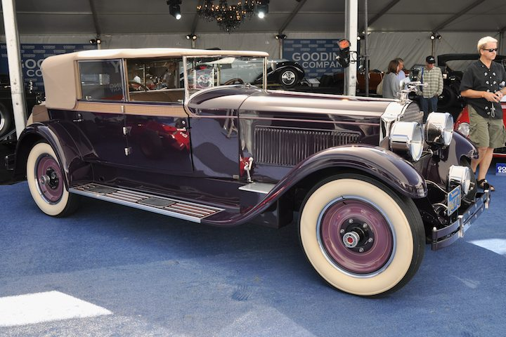 1927 Packard 343 Convertible Sedan – Sold for $627,000 versus unavailable estimate. From the estate of racing legend Phil Hill; Best of Show at 1977 Pebble Beach Concours d'Elegance.