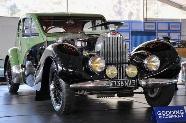 <strong>1938 Bugatti Type 57C Special Coupe – Sold for $1,375,000 versus unavailable estimate.</strong> Formerly the property of Ettore Bugatti; one-off Jean Bugatti coachwork; cared for by the factory until its closing in 1959; sold without reserve.