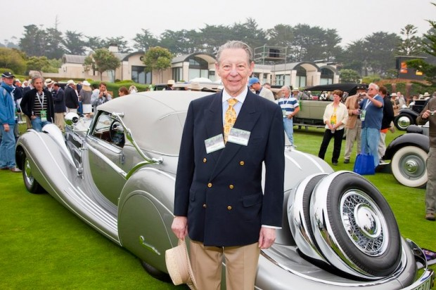 Robert M. Lee standing on the show field next to his 1937 Horch 853 Voll & Ruhrbeck Sport Cabriolet, which won Best of Show at the 2009 Pebble Beach Concours d'Elegance