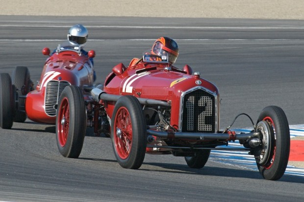 Jon Shirley's 1932 Alfa Romeo P3 leads Mark Gilllies' 1939 Maserati 4CL in turn one