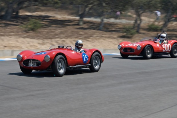Spencer Trenery Maserati A6GCS leads Dean Meiling's Maserati A6GCS  into turn 8