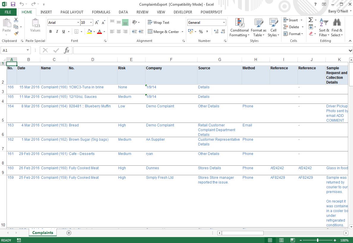 Export To Excel Safefood 360 Help Center