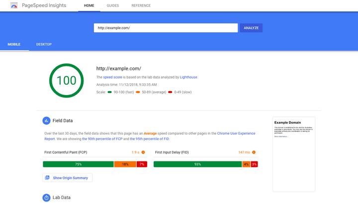 google speed insight
