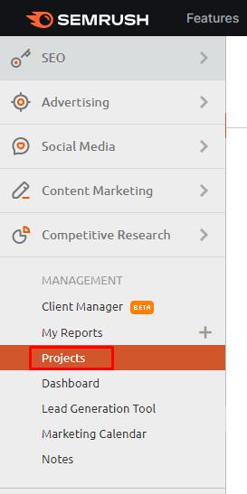 register your project in semrush