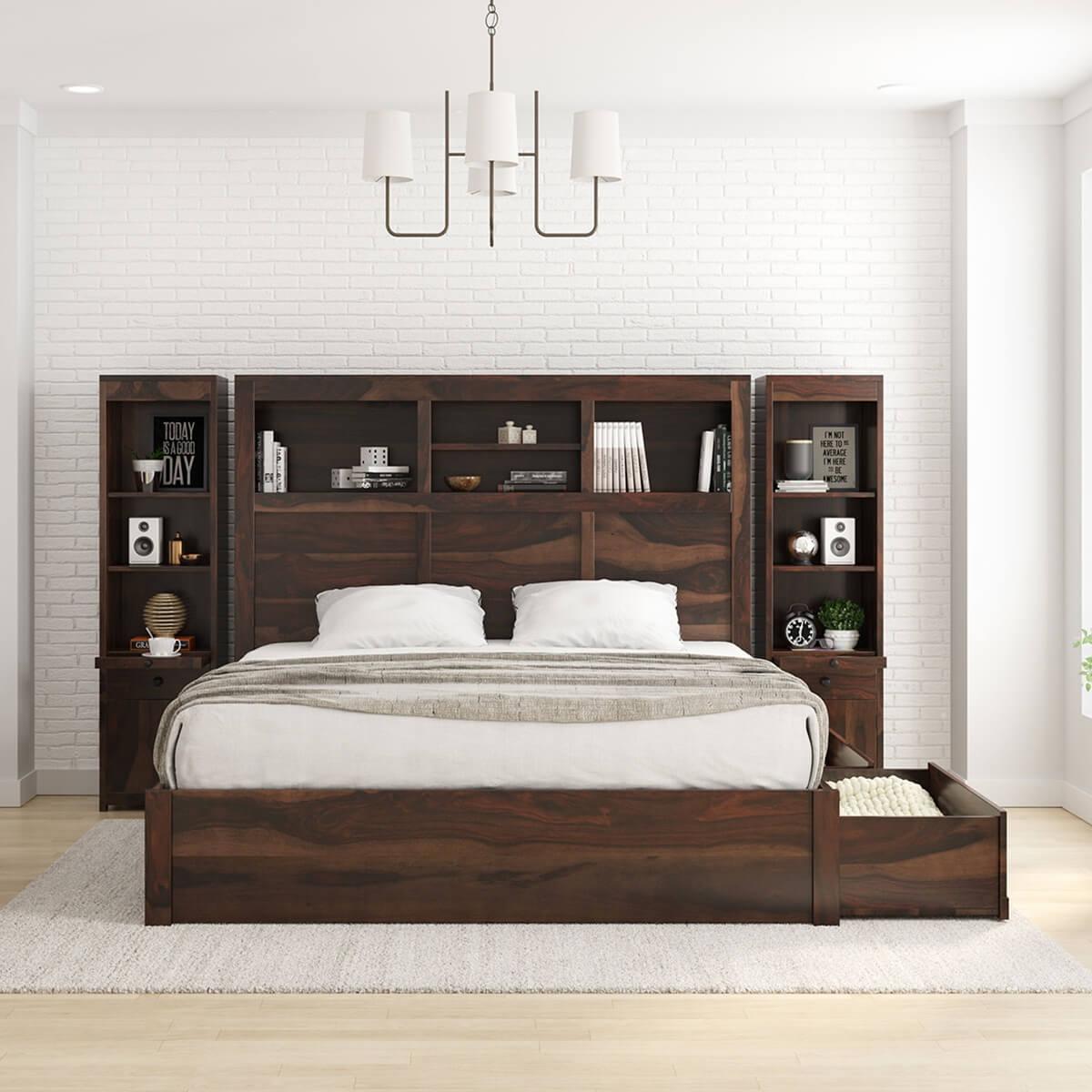 El Centro Solid Wood Storage Platform Bed Frame W Bookcase Headboard