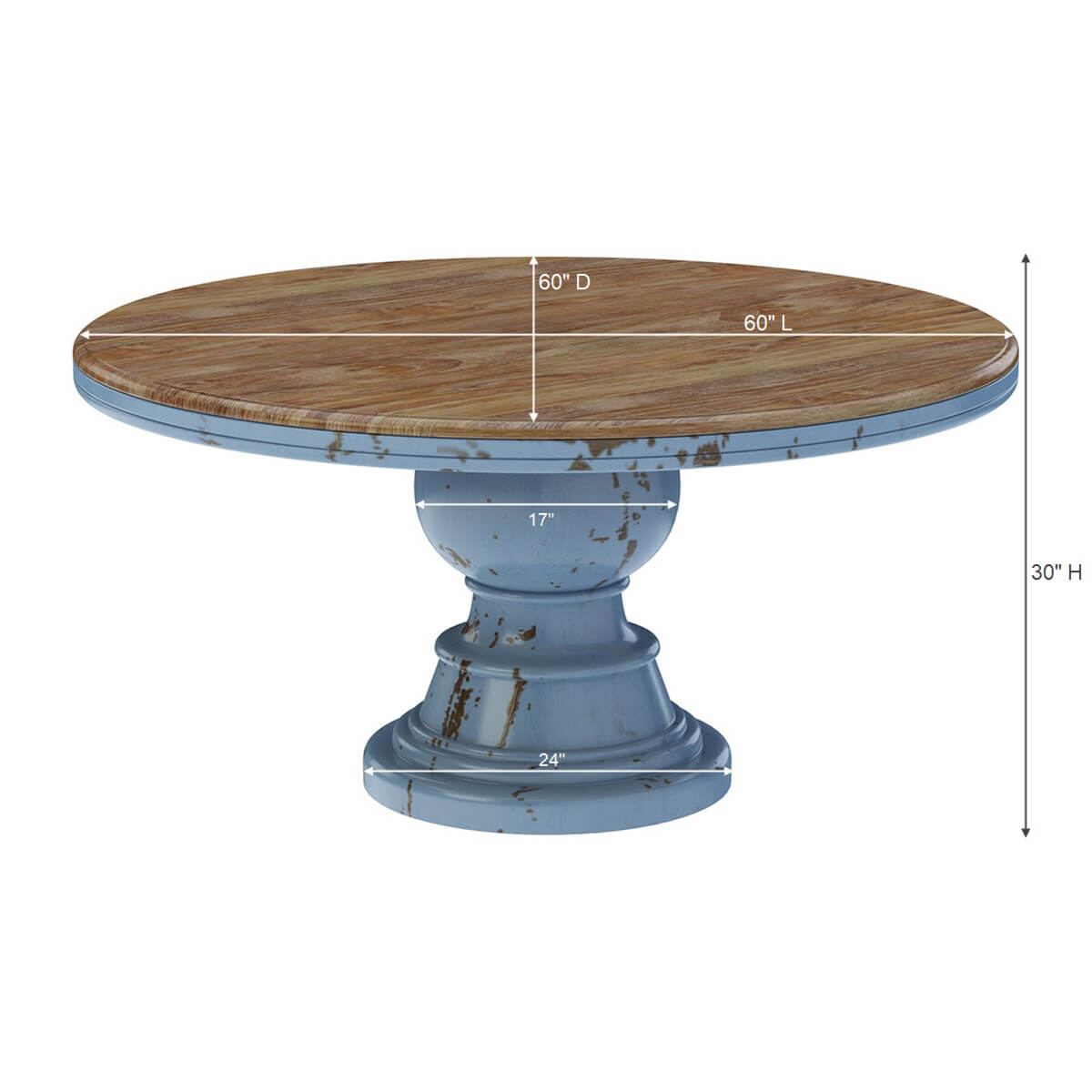 Nauvoo Blue Two Tone Mahogany Wood Round Dining Table