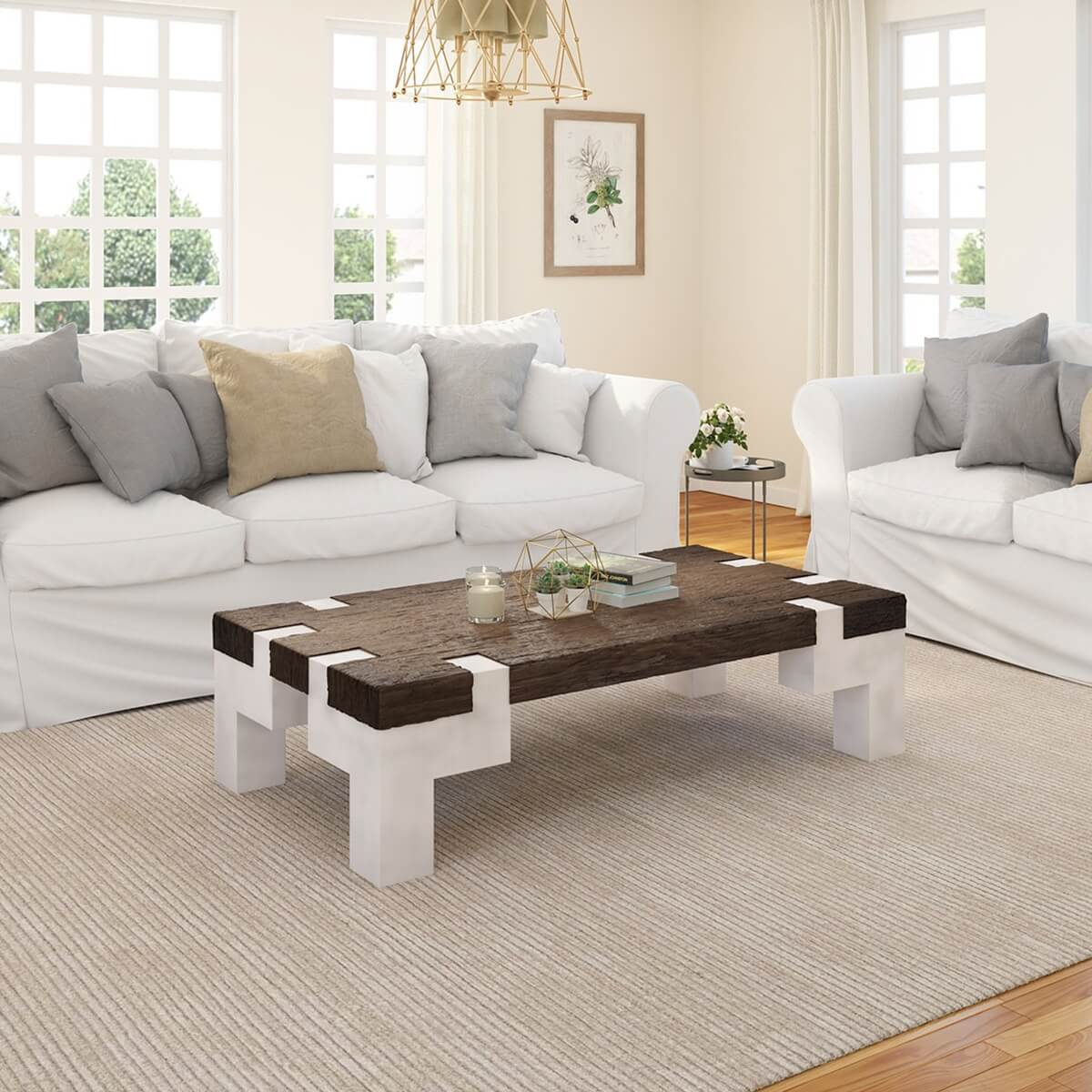 mexicali two tone rustic wood large farmhouse coffee table with iron legs