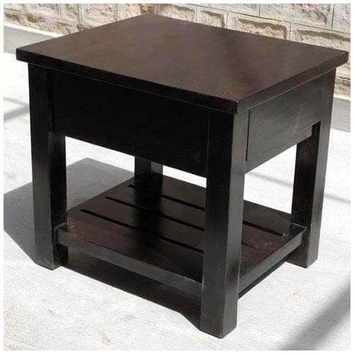 kansas city espresso solid wood 1 drawer end table