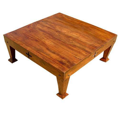 rosewood unique craftsman design square cocktail coffee table