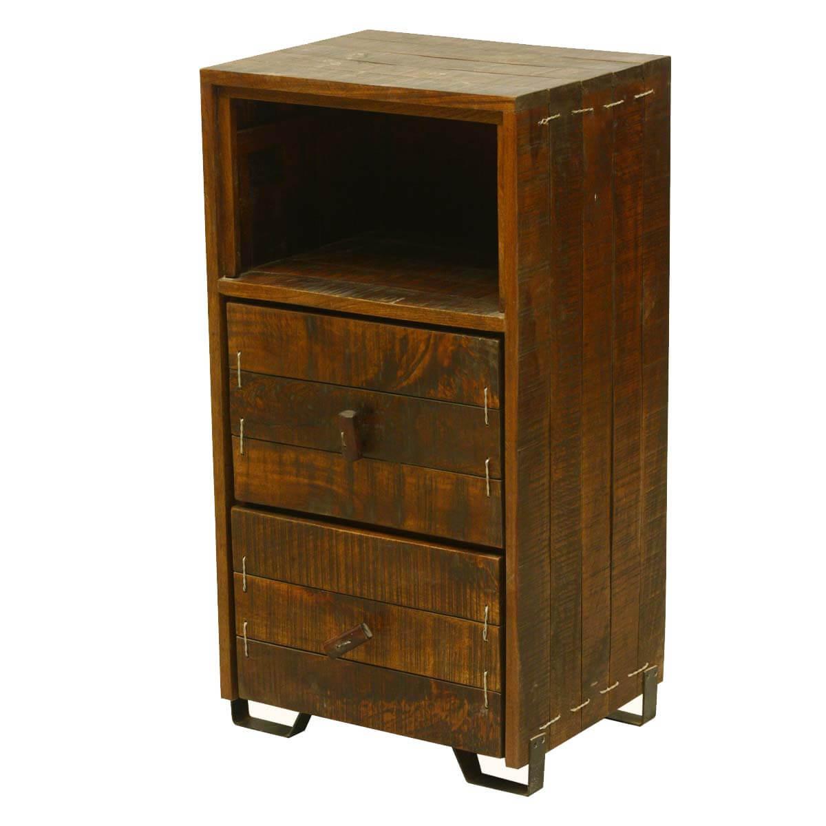Modern Scholar Reclaimed Wood 2 Drawer Nightstand W Open Shelf