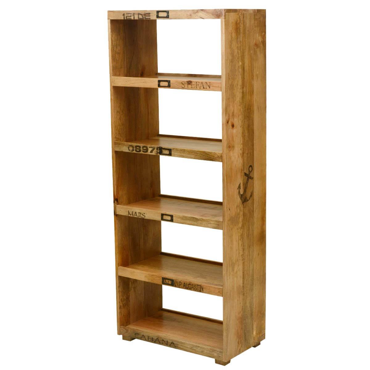 Morelia 5 Open Shelf Rustic Solid Wood Tall Narrow Bookcase