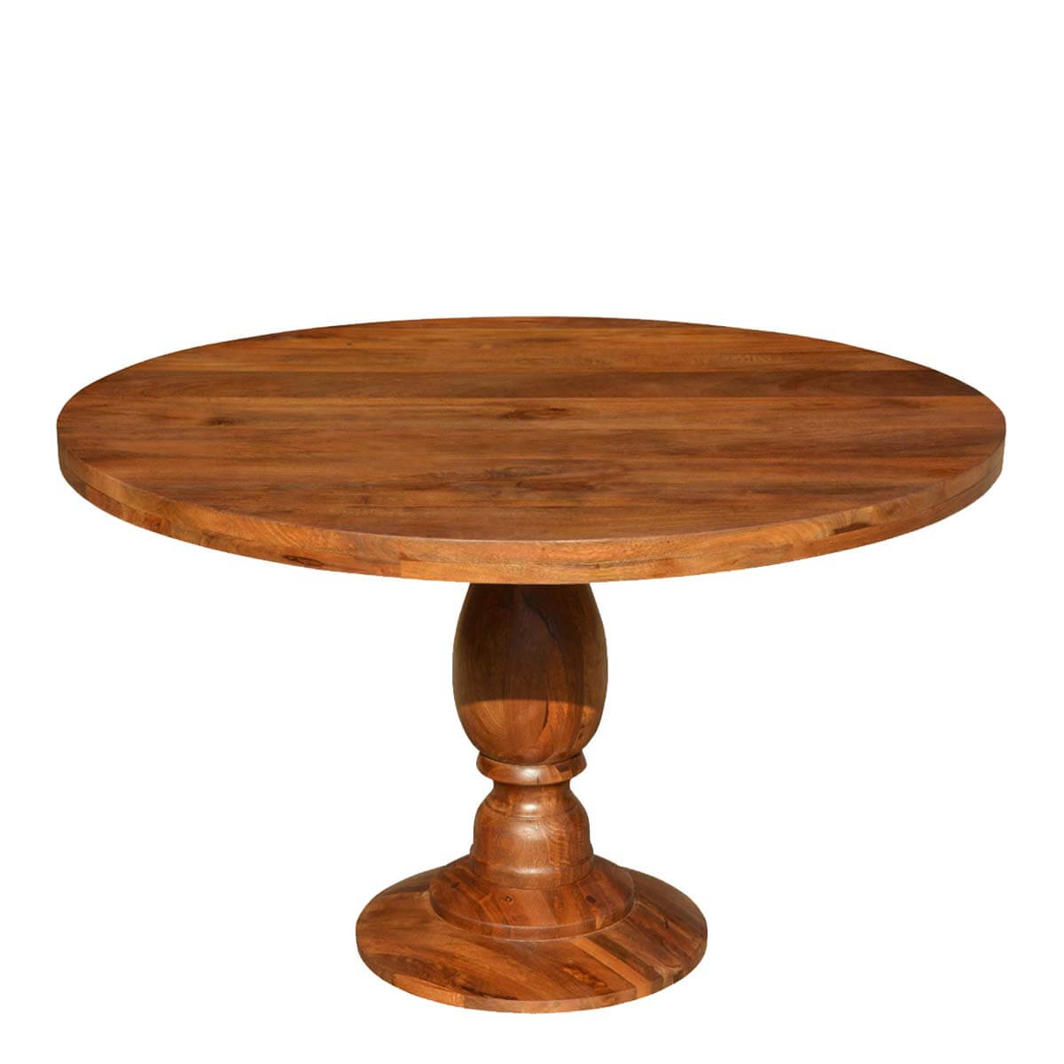 rustic colonial american solid wood 48 round pedestal dining table
