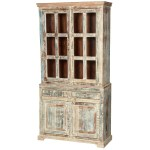 White Washed Rustic Reclaimed Wood Breakfront Dining Room Buffet Hutch